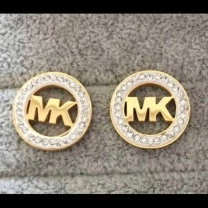 MK Round rhinestone gold earrings